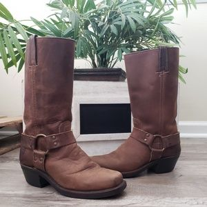 Frye Womens Boots Leather Harness Pull Up Tall